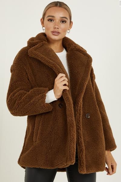 Tan Teddy Bear Oversized Jacket